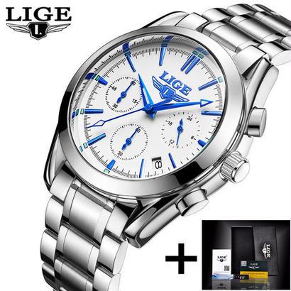 Lige メンズ腕時計 トップブランド フルスチール時計 スポーツクォーツ時計 防水時計 44