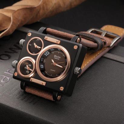 Oulm 高級ブランド 石英の腕時計時計 複数のタイムゾーンスクエアスポーツ腕時計 86