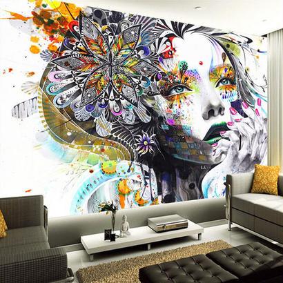 カスタム壁画壁紙 カラーハンド 塗装抽象落書き美容アート リビングルーム ベッドルーム 521 7/17
