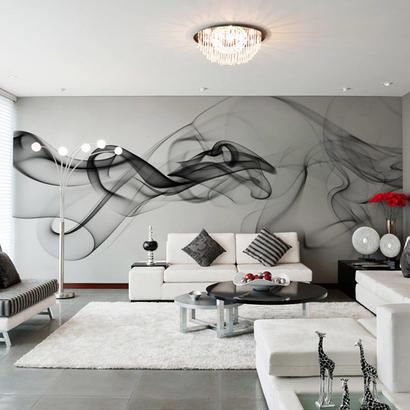 3D 壁画壁紙 ブラックホワイトスモークフォグ 寝室 オフィス リビングルーム 519 7/17