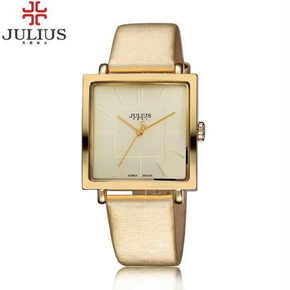 ジュリアスクォーツブランドレディー腕時計 高級ローズゴールドアンティークスクエアレザードレス腕時計 189