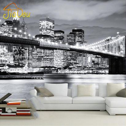 カスタム壁画 夜景マンハッタン橋 ニューヨーク ヨーロッパ アメリカ都市 黒と白 リビングルーム背景壁紙 506 7/17