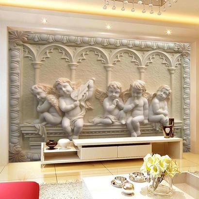 3D ヨーロッパ 立体レリーフ ヒスイ 寝室 リビングルーム ソファ テレビ 背景壁画 壁紙 524 7/17
