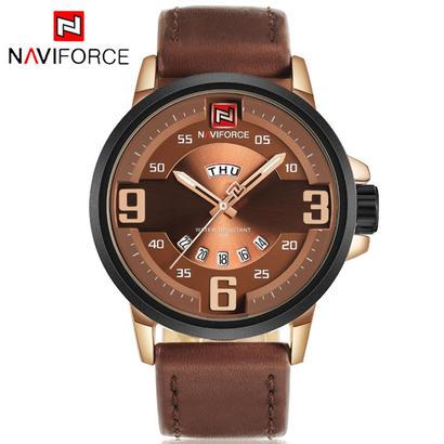 メンズ腕時計トップブランド 高級 Naviforce スポーツ時計 ミリタリー革 石英の腕時計 防水 32