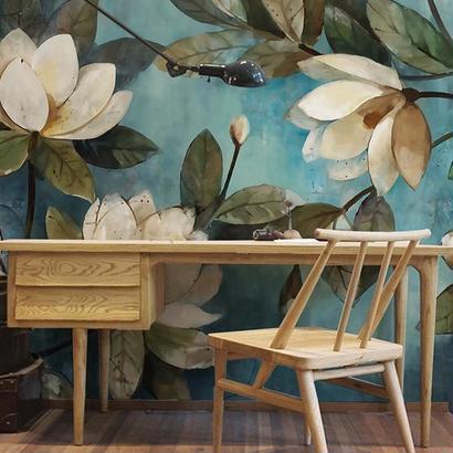 3D ホワイト蓮レトロスタイル 油絵壁画 家の装飾 壁紙 リビングルーム 背景 534 7/17