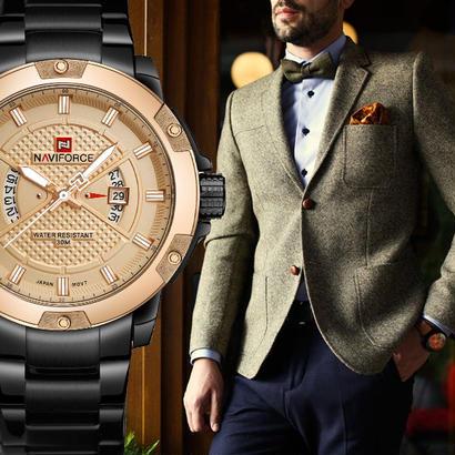 naviforce 高級ブランド腕時計 メンズミリタリークォーツ時計 ステンレススチール 防水 ゴールド腕時計 23