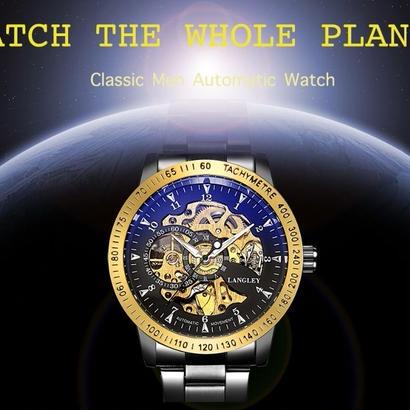 男性高級ブランド ステンレス鋼 メカニカル腕時計 クラシックファッションスケルトン腕時計 ビジネス時計 109