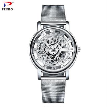 ビジネスステンレス鋼腕時計 男性腕時計 トップブランド クォーツ時計 95