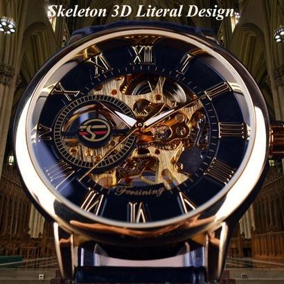 Forsining 3Dロゴデザイン 中空彫刻ブラックゴールド スケルトン腕時計 男性高級ブランド ヘレンオロロージュ 11