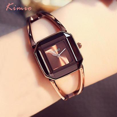 スクエアファッション スケルトンブレスレット ローズゴールド腕時計 ブランドレディース腕時計 136