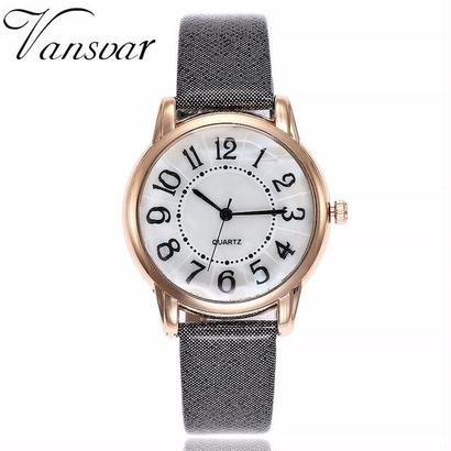 ダイヤル腕時計 カジュアルファッション 高級レザーストラップクォーツ腕時計 131