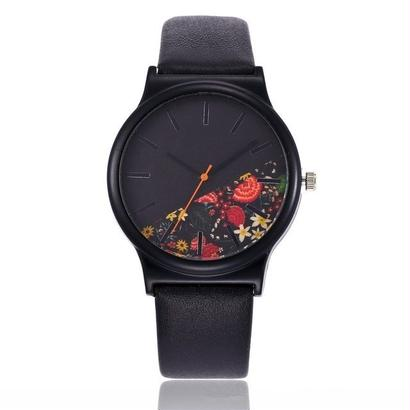ブラックフラワー腕時計 女性腕時計 クォーツ時計 168