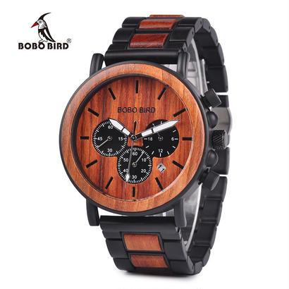 ボボ鳥 木製 トップブランド 高級スタイリッシュ時計 ウッド&ステンレススチールクロノグラフミリタリー 41