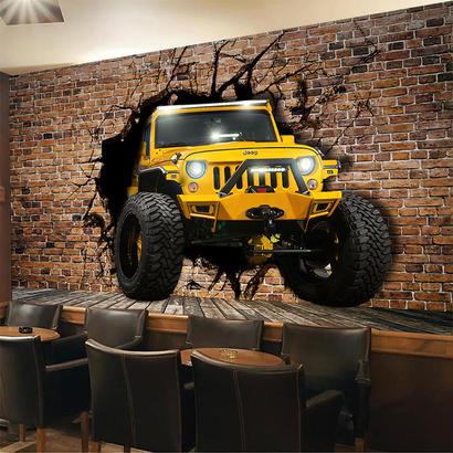 パーソナライズ カスタマイズ 黄色ジープ車 壊れ壁 レンガ 壁紙 レストラン カフェ バー 背景壁 3D壁画 540 7/17