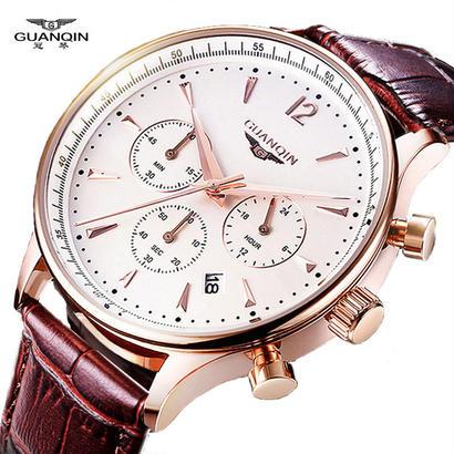高級オリジナルブランド Guanqin スポーツ時計 ファッション腕時計 クロノグラフ 防水男性革クォーツ時計