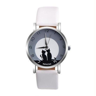 かわいい猫 女性腕時計 フェイクレザーアナログクォーツ腕時計 レディースガールカジュアルスポーツ腕時計 183