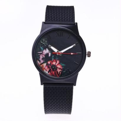クォーツ腕時計 シンプルラウンド女性腕時計 シリコンアナログ合金腕時計 120