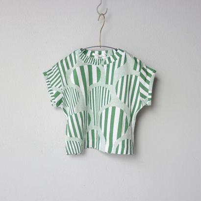 """【 ミナペルホネン 18SS 】 """" line tree """" Tシャツ  / green  / 80-100cm   (WS8859P)"""