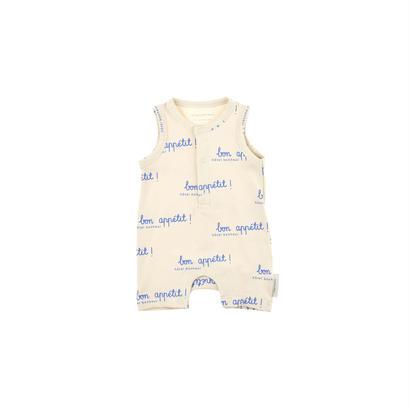 【 tiny cottons 2018SS 】SS18-003 bon appetit SL short onepiece / stone/cerulean blue
