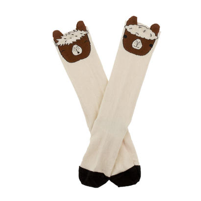 【tiny cottons 2017AW】AW17-294 llamas heads high socks / beige / brown