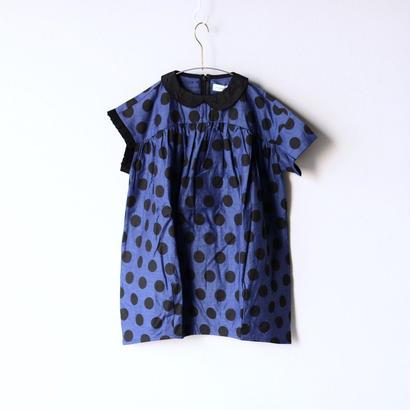 【 franky grow 2018SS 】DOTS ASYMMETRIC SLEEVES DRESS / BLUE*BK DOTS  / LL(9-11歳)