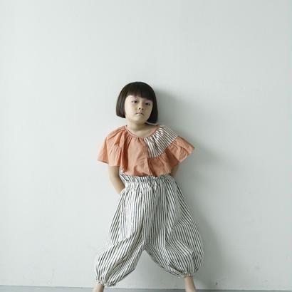 【先行予約】【 folk made 2018SS】No.7 flare stripe blouse / ピーチネイビー×ピンク