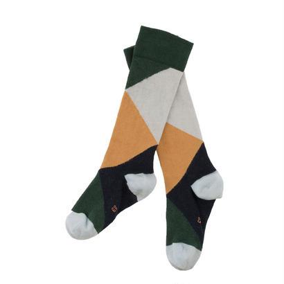 【tiny cottons 2017AW】AW17-279 geometric high socks / dark green / light blue / nude