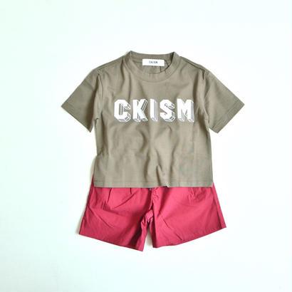 【 CKISM 2017SS 】 Big Tee + Wide Shorts Set / Kahki x Wine / size 100〜150cm