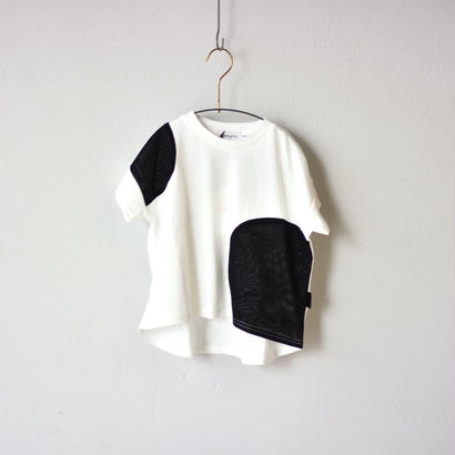 【 franky grow 2018SS 】TULLE SWITCHING TEE / WHITE-BLK / LL(9-11歳)