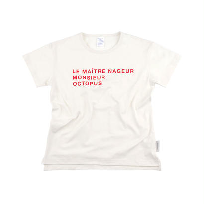 【 tiny cottons 2018SS 】SS18-115 'le ma?tre nageur' SS relaxed graphic tee / off-white/carmin