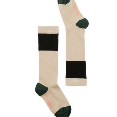 【tiny cottons 2017AW】AW17-284 color block high socks / beige / black