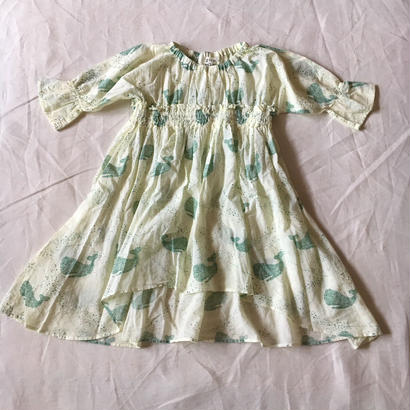 【先行予約】【 folk made 2018SS】No.1 whale print dress / レモンイエロー