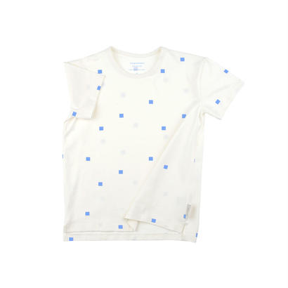 【 tiny cottons 2018SS 】SS18-024 squares dots SS tee / off-white/cerulean blue