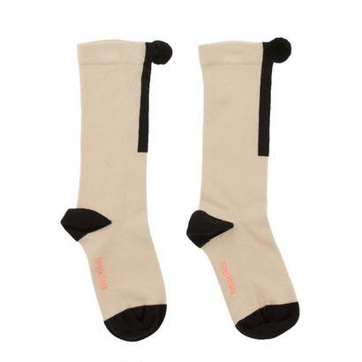 【tiny cottons 2017AW】AW17-280 pom pom high socks /beige / black