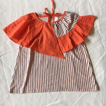 【先行予約】【 folk made 2018SS】No.7 flare stripe blouse / ピーチネイビー×オレンジ