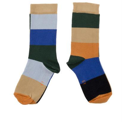 【tiny cottons 2017AW】AW17-293 squares socks / dark navy / brown / light blue