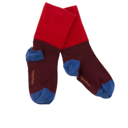 【tiny cottons 2017AW】AW17-290 rib medium socks / red / bordeaux