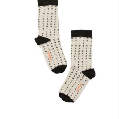 【tiny cottons 2017AW】AW17-292 alphabet soup socks / beige / black