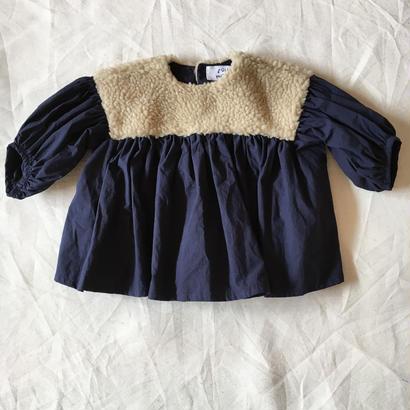【 folk made 2017AW】#14 boa gather blouse / ベージュboa×ネイビー