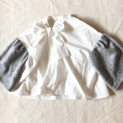 【 folk made 2017AW】#16 shaggy ribbon blouse / オフ白×トップグレーシャギー