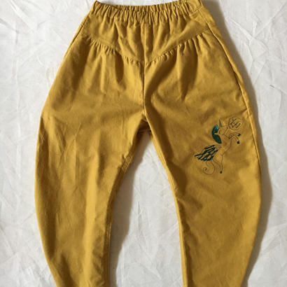 【 folk made 2017AW】#06 embroidery pants 刺繍パンツ / マスタード