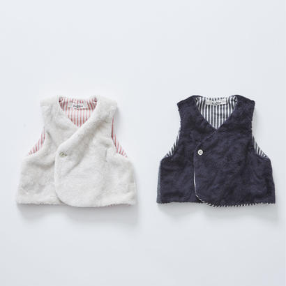 【cokitica 2017AW】cka-172F36  miracle fur vest  / navy / 80-90cm