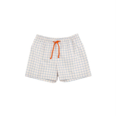 【 tiny cottons 2018SS 】SS18-311 grid trunks / stone/cerulean blue
