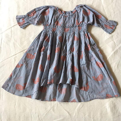 【先行予約】【 folk made 2018SS】No.1 whale print dress / シャドウブルー