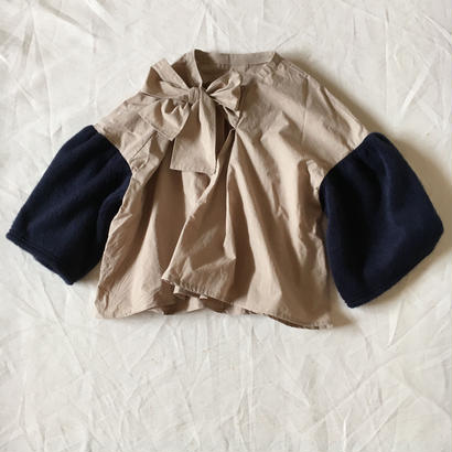 【 folk made 2017AW】#16 shaggy ribbon blouse / ベージュ×ネイビーシャギー