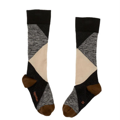 【tiny cottons 2017AW】AW17-277 geometric high socks / beige / black