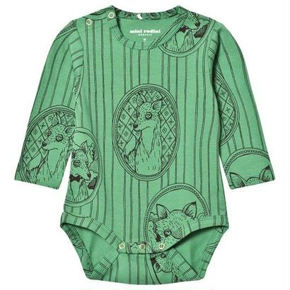 【 mini rodini 2017AW】FOX FAMILY LS BODY / 68/74cm / Green