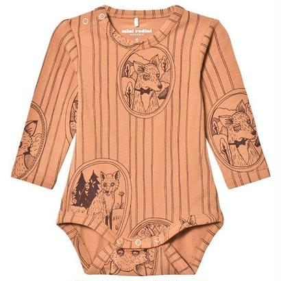 【 mini rodini 2017AW】FOX FAMILY LS BODY / 68/74cm / Brown