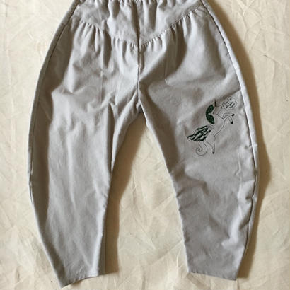 【 folk made 2017AW】#06 embroidery pants 刺繍パンツ / グレー