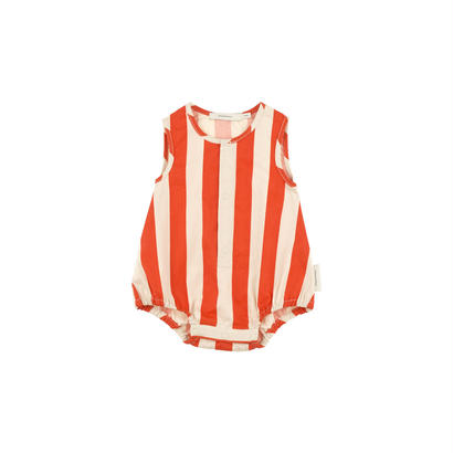【 tiny cottons 2018SS 】SS18-201 stripes wv sl onepiece / stone/carmin